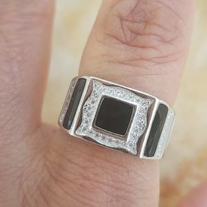 Other - 11mm 925 Sterling Silver Men's Onyx Ring Band